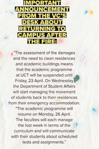 IMPORTANT ANNOUNCEMENT FROM THE VC'S DESK ABOUT RETURNING TO CAMPUS AFTER THE FIRE: